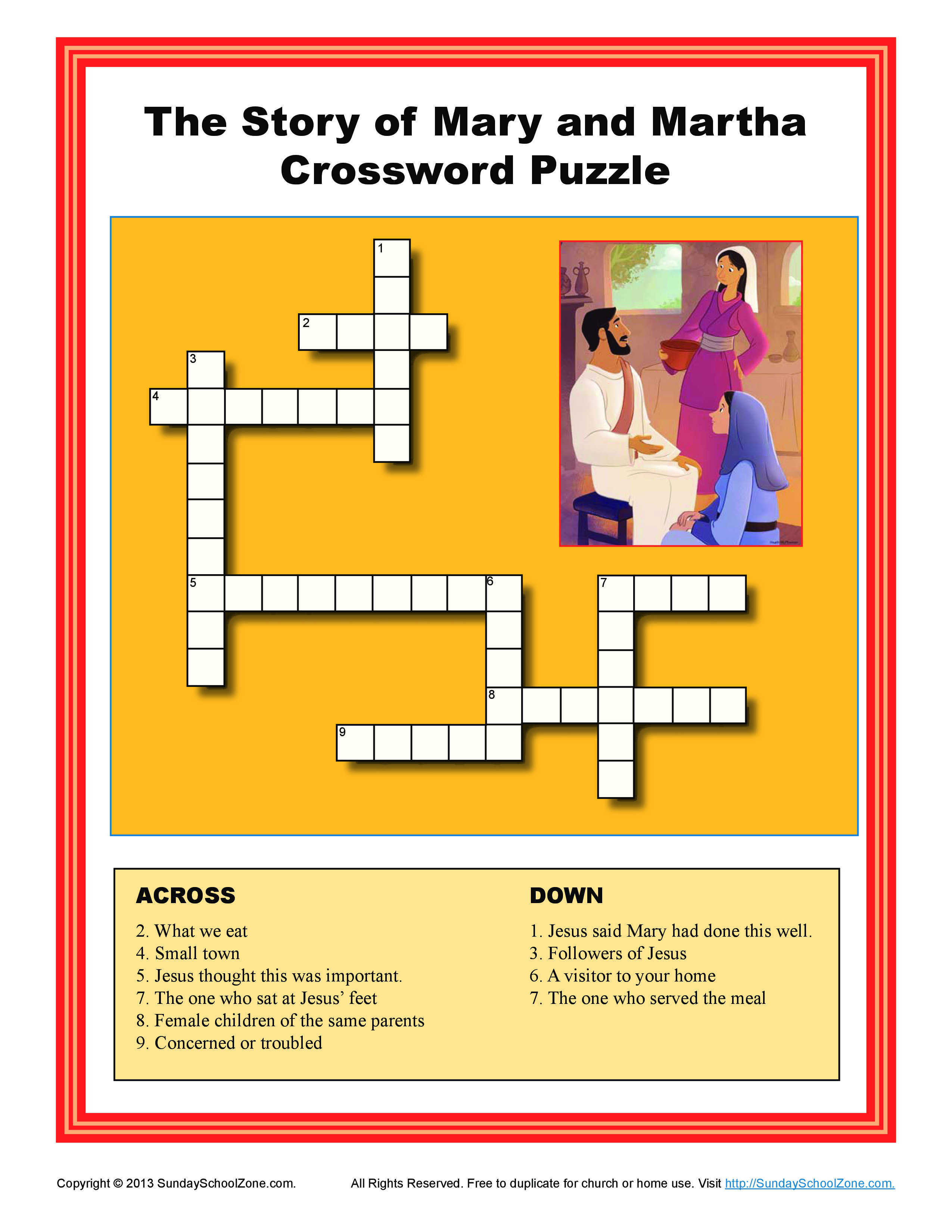Mary and martha crossword puzzle bible activities for children
