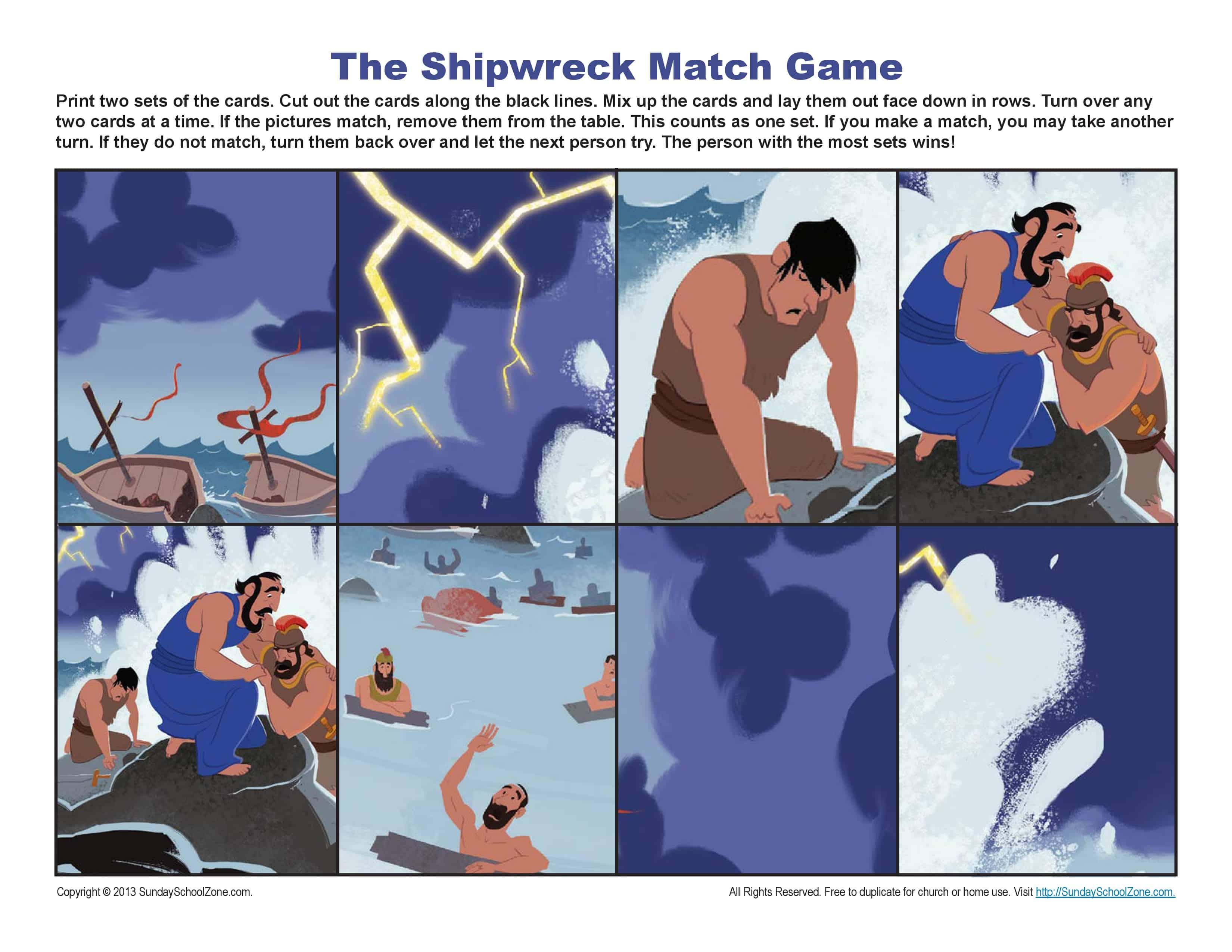 Paul S Shipwreck Match Game Sunday School Activities